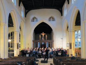 Rehearsal before our concert in St Mary's Church, Godmanchester